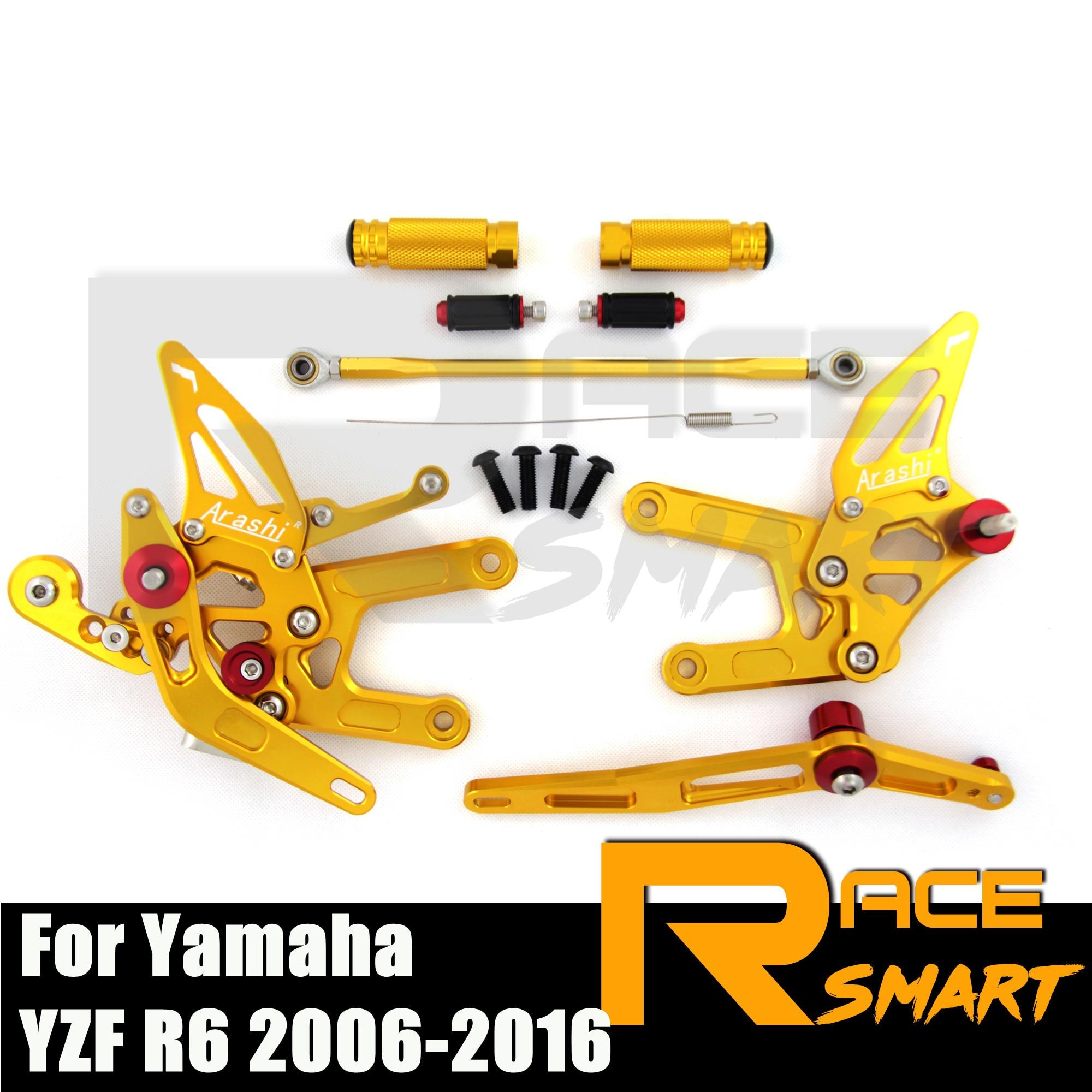 CNC Регулируемые Rearsets Rearset для YAMAHA YZF R6 2006 - 2016 аксессуары для мотоциклов педаль peg задний комплект 2013 2014 2015 2016