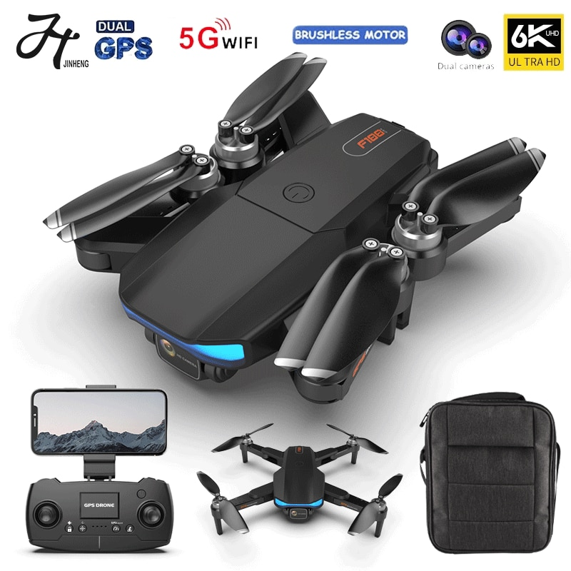 JINHENG Drone GPS 6k Profesional Brushless Motor 5G Quadcopter With Camera Dual HD FPV Foldable Drones WiFi RC Helicopter Gifts