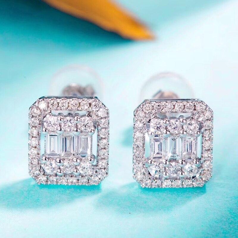 Pendientes de diamante AEAW GF 4,5mm 0,4 quilates cada uno en oro blanco de 18K