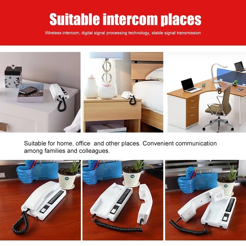 2.4GHz 433MHz Wireless Audio Intercom System Secure Indoor Audio Phone Handsets for Warehouse Office Home enlarge