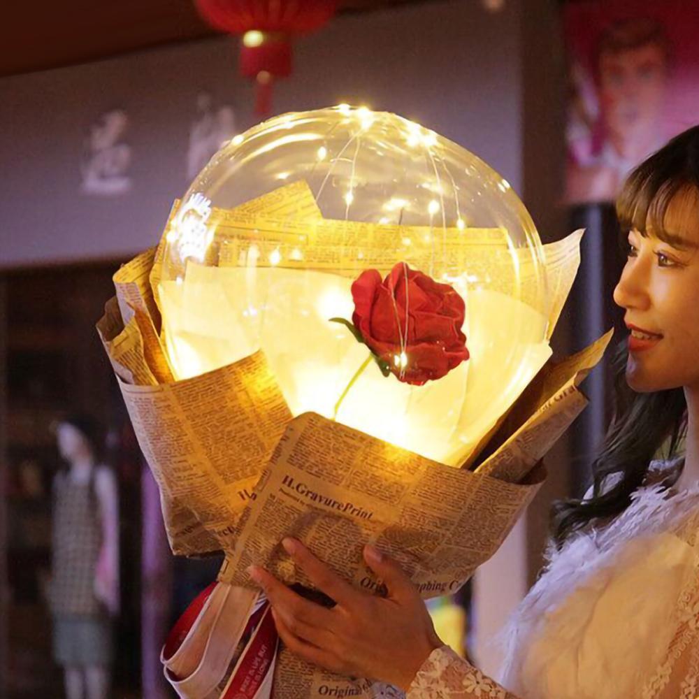 Rosa de moda regalos del Día de San Valentín globo luminoso LED ramo de rosas Navidad fiesta de cumpleaños decoración de la boda regalo globo