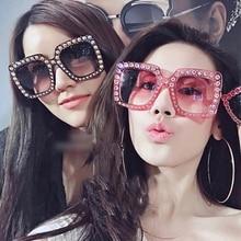 XaYbZc Shining Diamond Sunglasses Women Brand Design Flash Square Shades Female Mirror Sun Glasses O