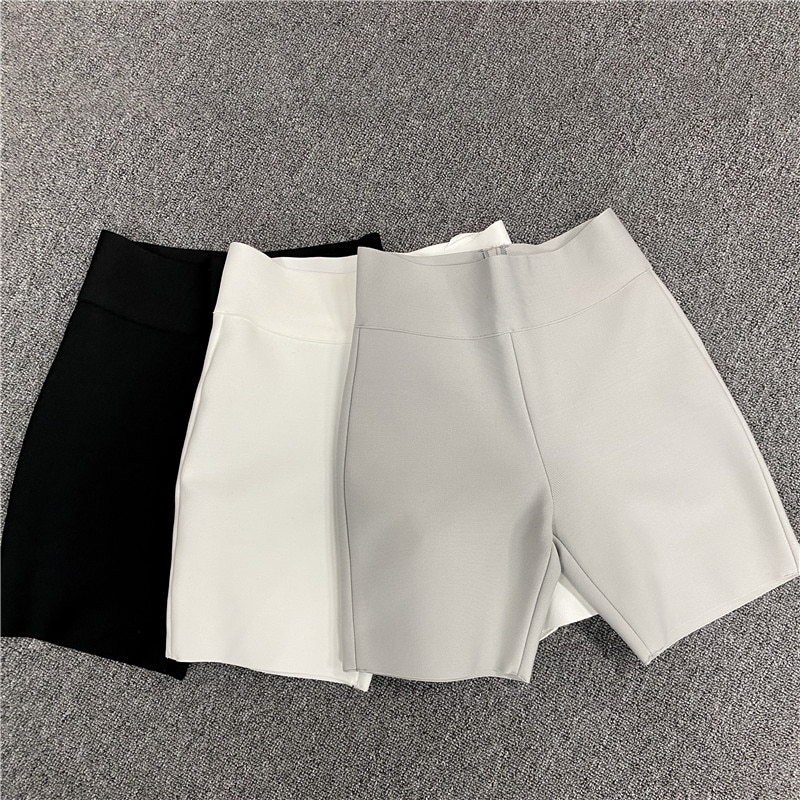 High Quality New Fashion Black White Casual Short Pants High Elastic Fitness Pants Sport Suit