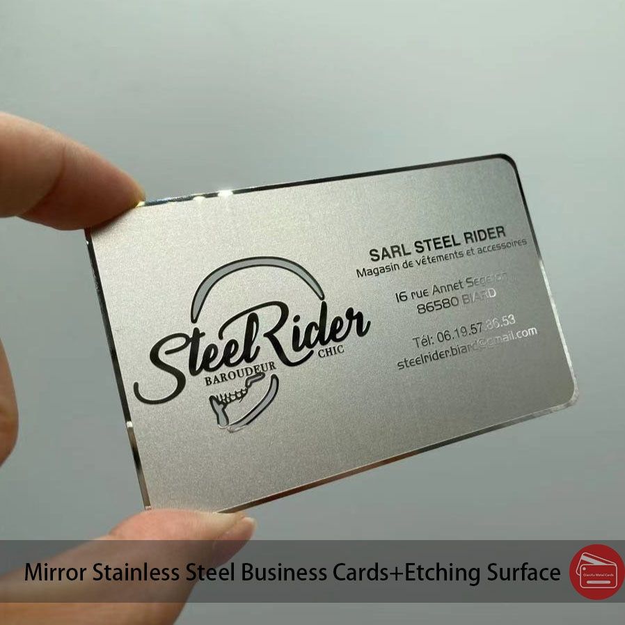 Polished reflect stainless steel business cards OEM factory cheap custom mirror metal business card