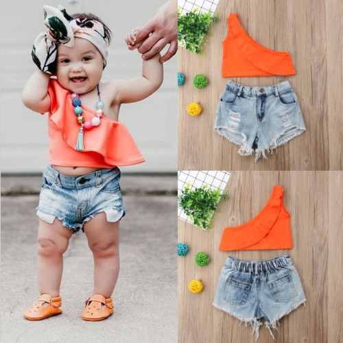 Toddler Kids Baby Girls T-shirt Vest Tops+ Hole Denim Shorts Pants Outfits Summer Clothes Set