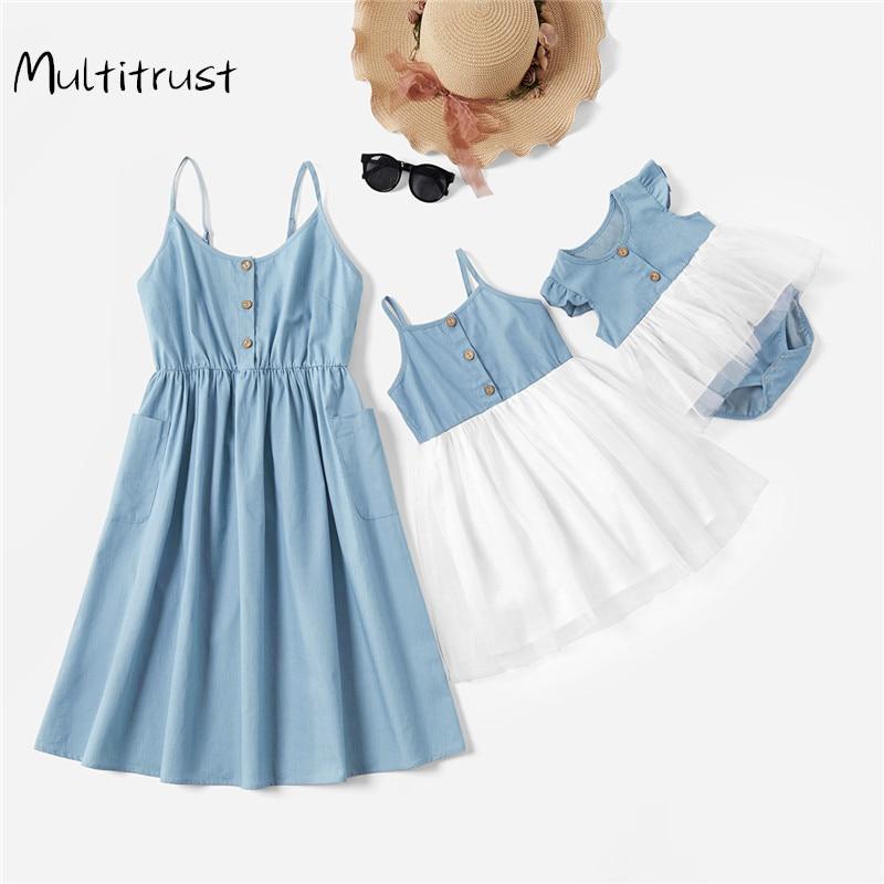 Vestidos de encaje para madre e hija, verano 2020, ropa familiar, vestido para madre e hija, trajes familiares a juego, vestido para niños y mujeres