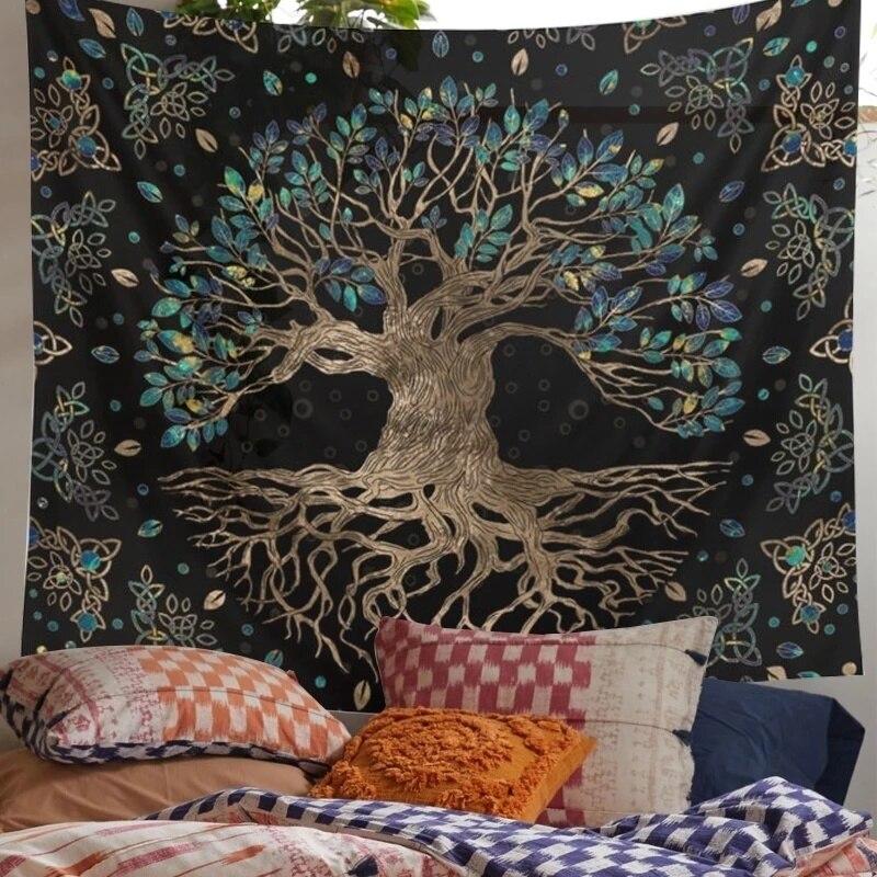 Life гобелены с деревьями настенный психоделический гобелен, богемский хиппи Ин, гобелены для спальни, богемный растительный принт