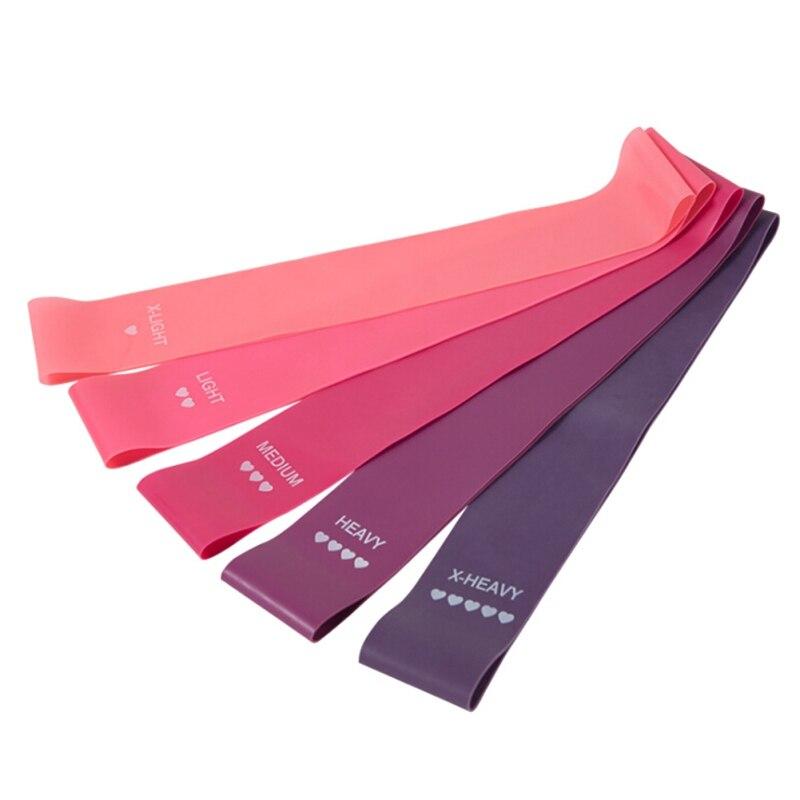 5 unids/set de Bandas Elásticas para la aptitud de la goma bandas de resistencia Yoga entrenamiento deporte botín bandas goma entrenamiento ejercicio femenino