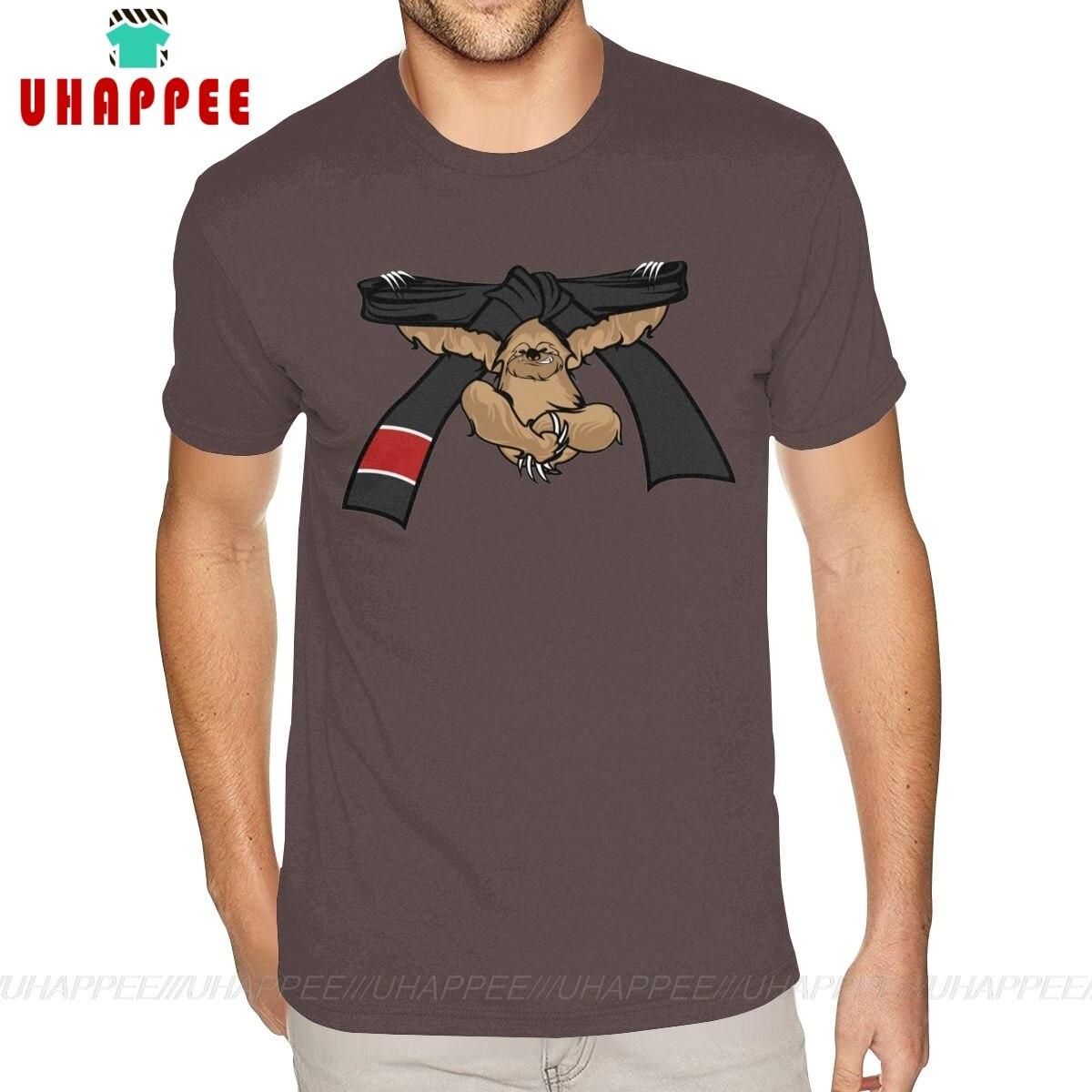Camiseta de manga corta, cuello redondo, 100%, de algodón, Sloth Jiu Jitsu, BJJ, cinturón negro, camisetas para hombre con estilo S