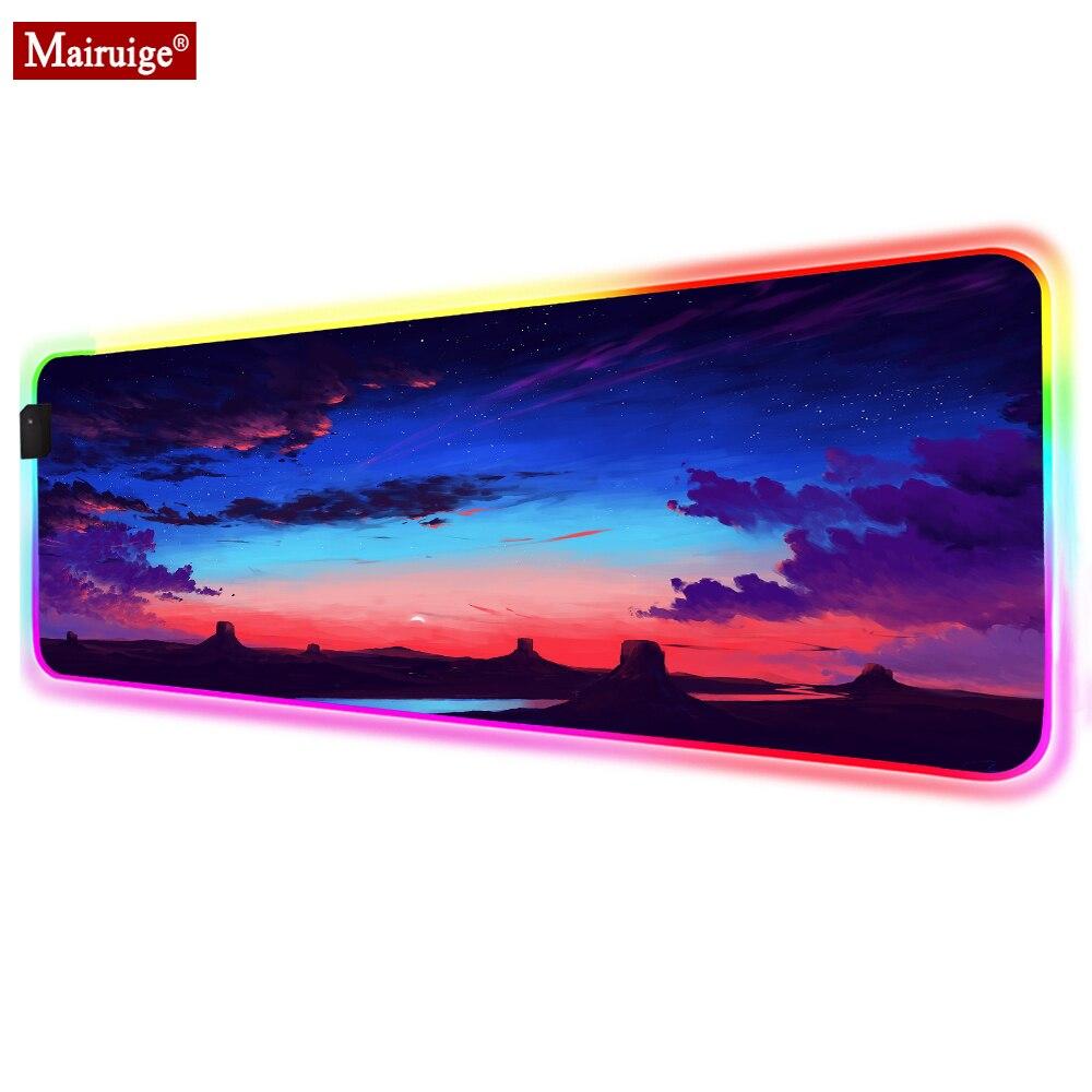 Alfombrilla de ratón LED Starry Sky Rock Sunset Dark Clouds RGB Glow XXL, alfombrilla grande para ratón 90x4 0/70x30cm, alfombrilla de escritorio para ordenador portátil