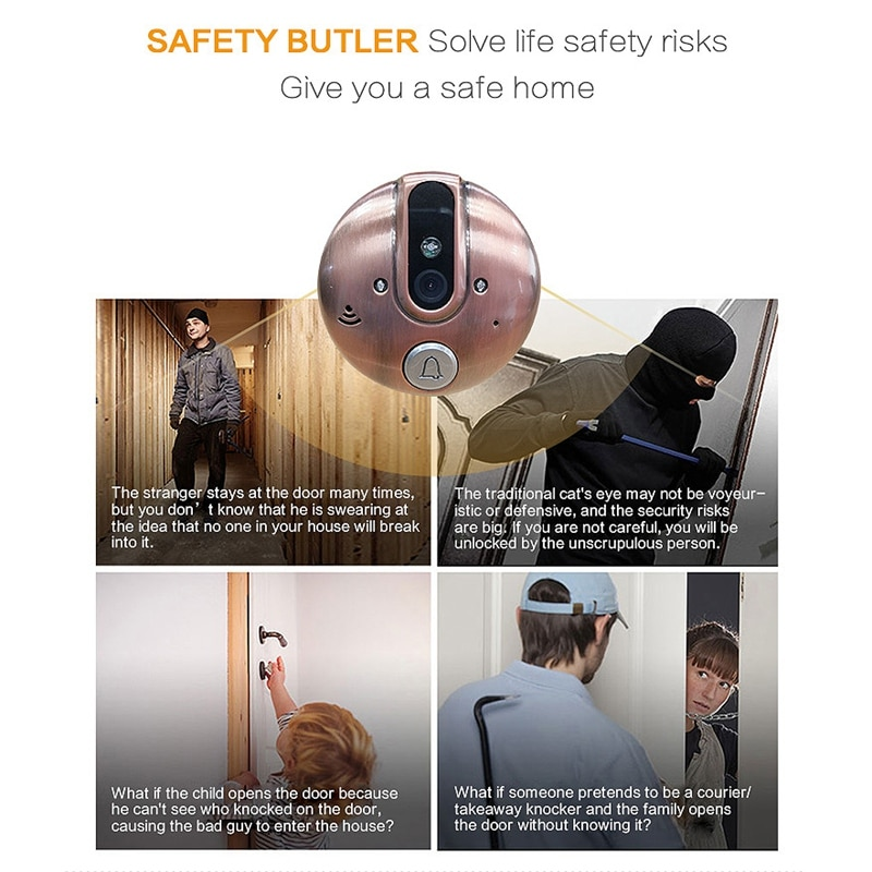 4.3 Inch Color Video Doorbell  Peephole Door Viewer with Night Vision Visual Camera 120 degree wide angle viewing Video Intercom enlarge