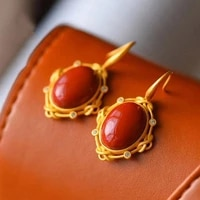 natural south red agate s925 sterling silver inlaid earrings earrings womens fashion jade eardrops ins same fashion