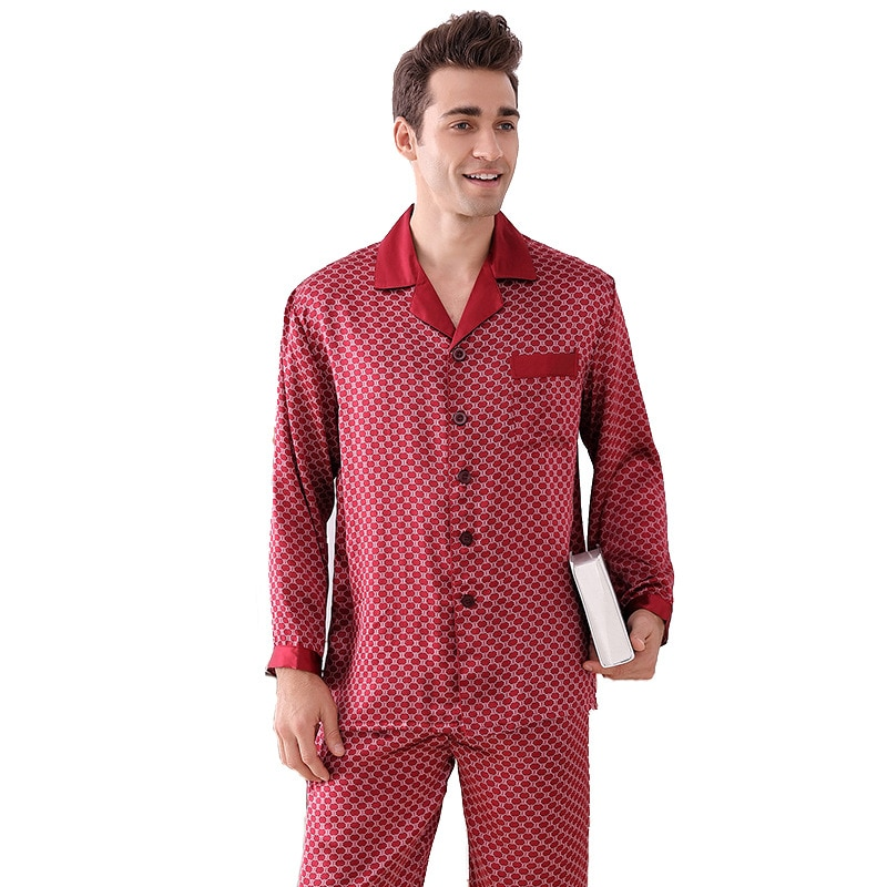 Men Summer Plus-Size Long Sleeve Trousers Silk Pajamas Two Suits Light Luxury 100% Mulberry Silk Plaid Home Wear