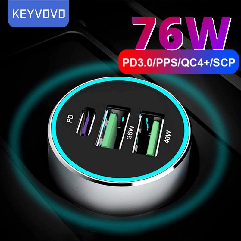 76W PPS PD QC 3 USB Metal Quick Car Charger for iPhone 12 Xiaomi Samsung Huawei P40 5A SuperCharge S