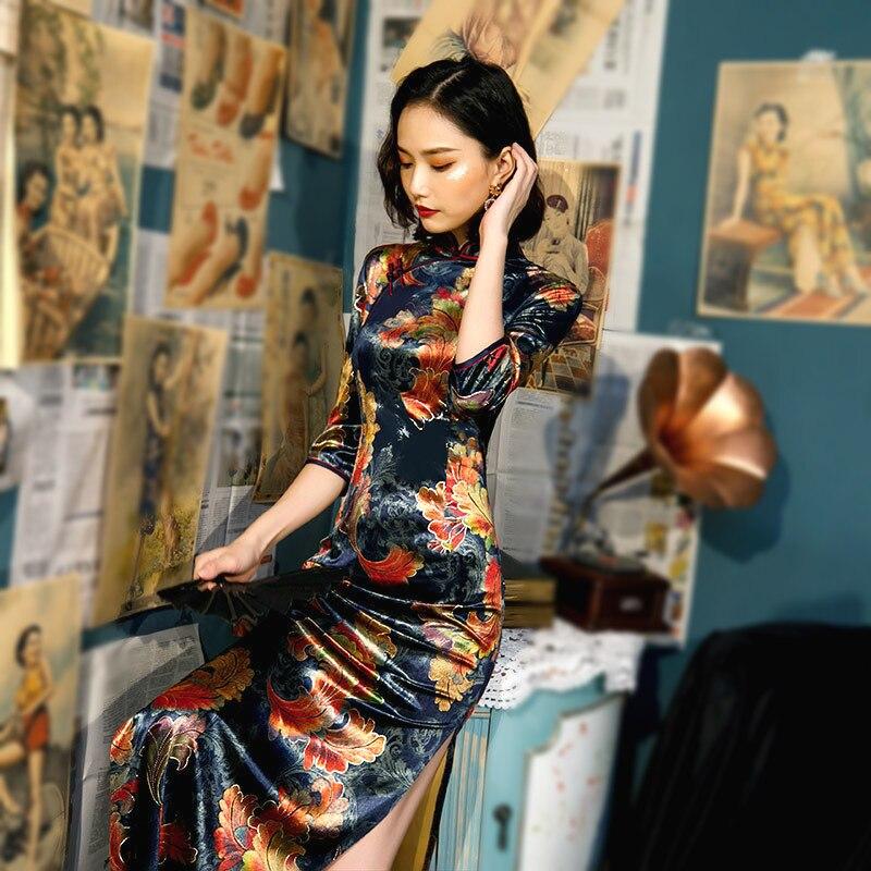 SHENG COCO talla grande mujer ropa Velour Cheongsam azul marino tradicional chino vestido de noche otoño largo Qipao 5XL 4XL 3XL