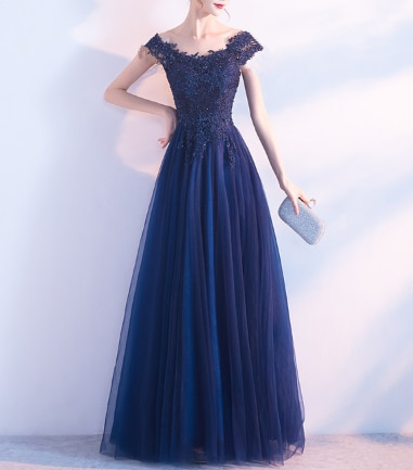 New Fashion Blue Lace Evening Dress Bridal Party Evening Elegant Long Evening Dress Plus Size Long Evening Dress фото