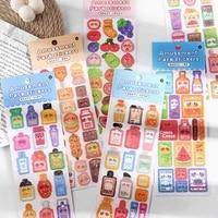 1 sheet cute fruit bottles glitter bling notebook handbook decorative stickers