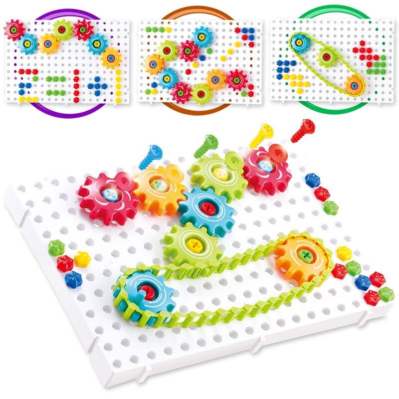 Engrenagens 3d quebra-cabeça kits de construção tijolos de plástico brinquedos educativos para crianças brinquedos para o presente natal y024