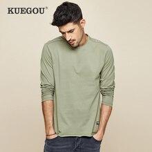 KUEGOU 100% coton hommes à manches longues T-shirt pur contracté mode couleur pure rendre non doublé haut de vêtement taille ZT-7767