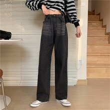 Women's Jeans 2021 Summer New Streetwear High Waist Straight Denim Trouser Solid Color Baggy Vintage