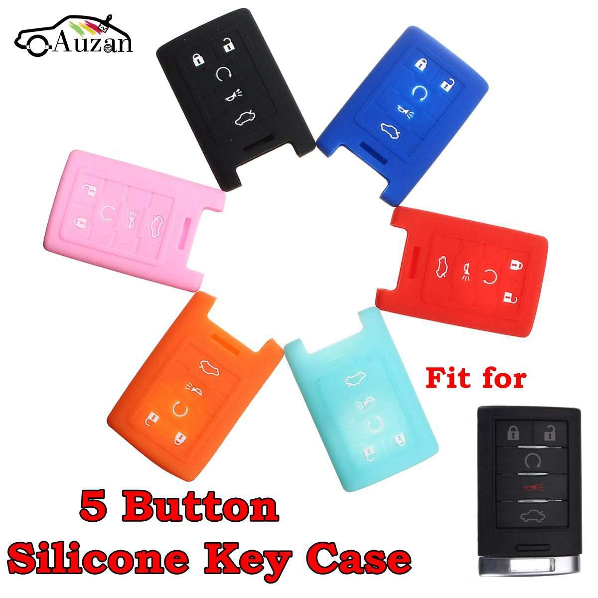Silicone 5 botão remoto chave fob caso capa para cadillac sts ats dts cts xts srx 6 cores