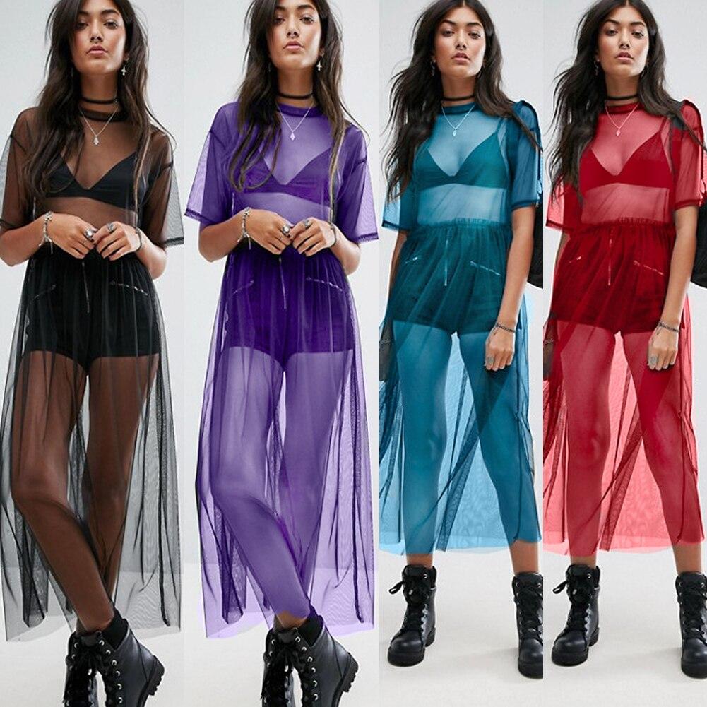 Hirigin Neueste 2019 Sexy T Shirt Frauen Schwarz Gaze Mesh Top Sheer Lange Shirts Beiläufige Lose T-Shirts Transparente Tops