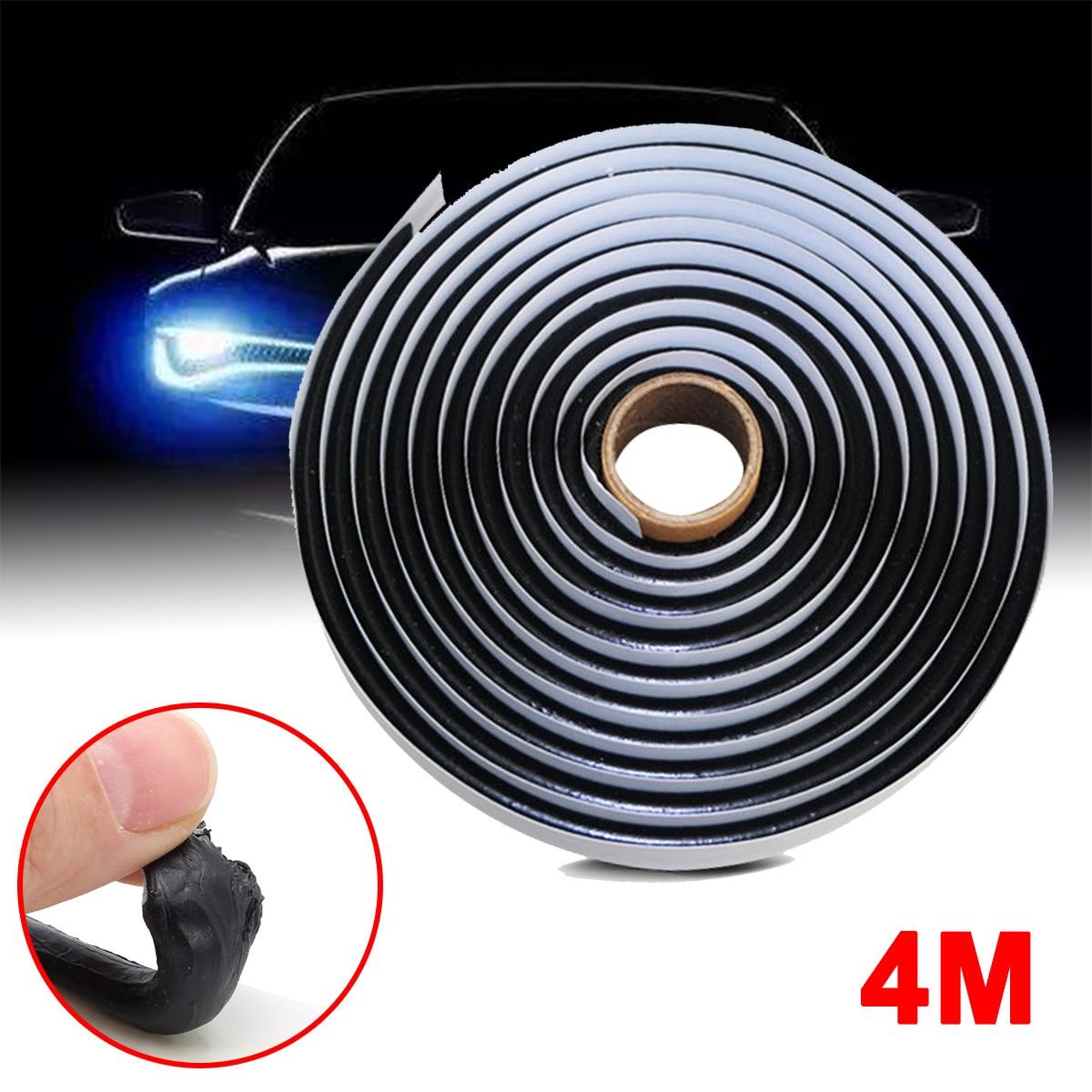 4M Black Butyl Rubber Glue Sealant Car Truck Headlight LED Retrofit Reseal Strip enlarge