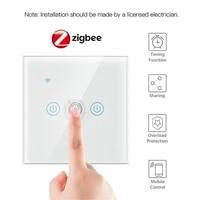 Interrupteur mural tactile intelligent Zigbee  1 2 3 4 boutons  pour Alexa et Google Home Assistant  Standard ue  application Smart Life  10A 200W