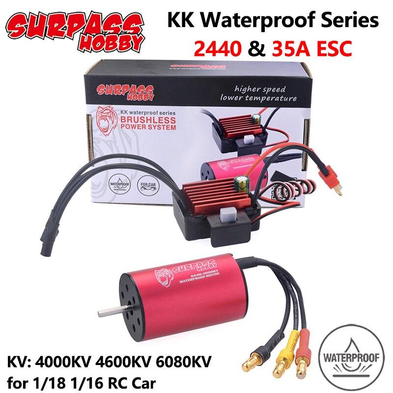 Supere o passatempo kk à prova desc água esc motor sem escova 2440 4000/4600/6080kv 2s com 35a esc para traxxas hsp tamiya axial 1/16 1/18 rc