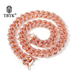 TBTK 12mm Pink Zircon Hiphop Cuban Link Chains Rose Gold Luxury Fashion Jewelry Colar Feminino Necklaces High Quanlity Punk