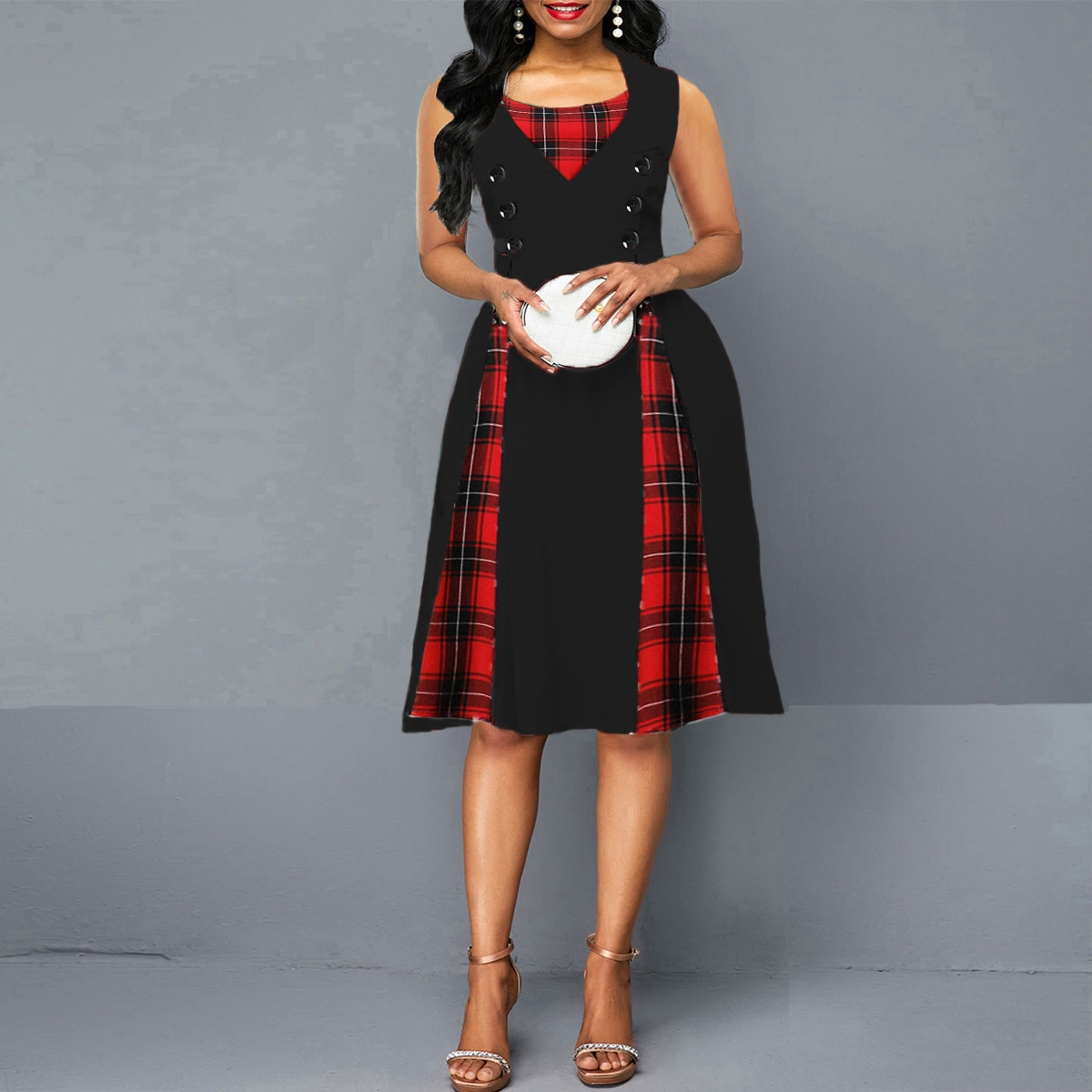 OTEN 2020 النساء حجم كبير الترتان اللباس الصيف الستر خمر أكمام الأحمر منقوشة طباعة زر روكبيلي حزب مثير دبوس حتى اللباس