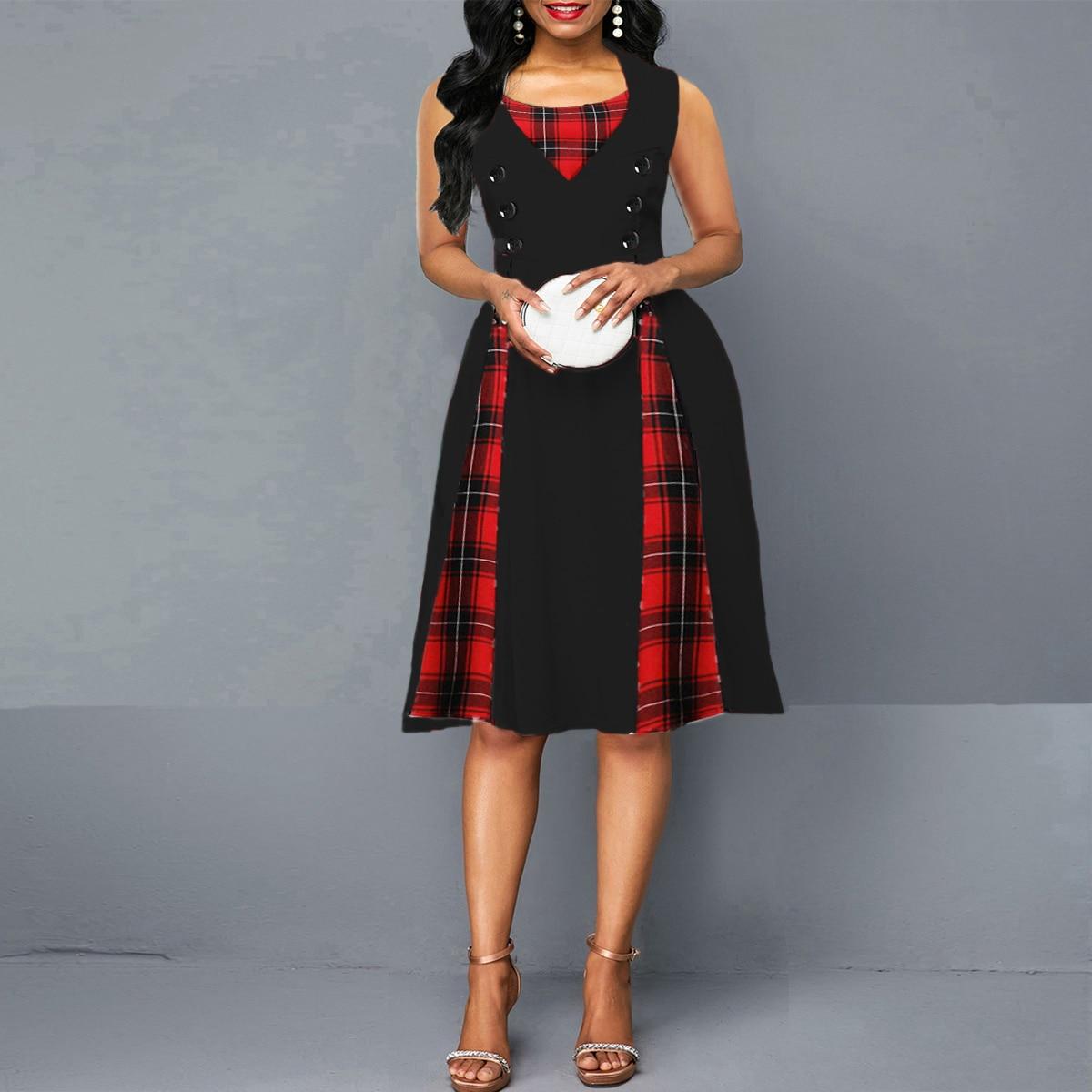 OTEN 2020 Women size big tartan dress Summer Tunics Vintage Sleeveless Red Plaid Print Button Rockabilly party sexy Pin up dress