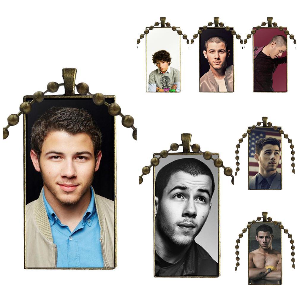 De moda cabujón colgante de vidrio collar con dije de rectángulo gargantilla collar de la joyería para las mujeres los niños hecho Hipster Nick Jonas