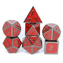 Lot de 7 dés en métal avec cordon rouge sac à dés pour RPG de table D4 D6 D8 D10 D12 D20 mdn RPG MTG jeux de société métal mdn d dés