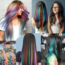 """Beyond Strands 57 Colored Long Straight Ombre Synthetic Hair Extensions Pure Clip In One Piece Strips 20"""" Hairpiece For Women"""