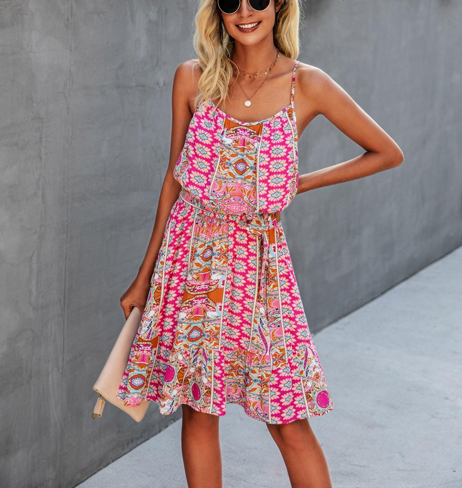 2021 Sexy Spaghetti Strap Dress Chiffon Floral Boho Women Backless Midi Summer Elegant Female Beach Party