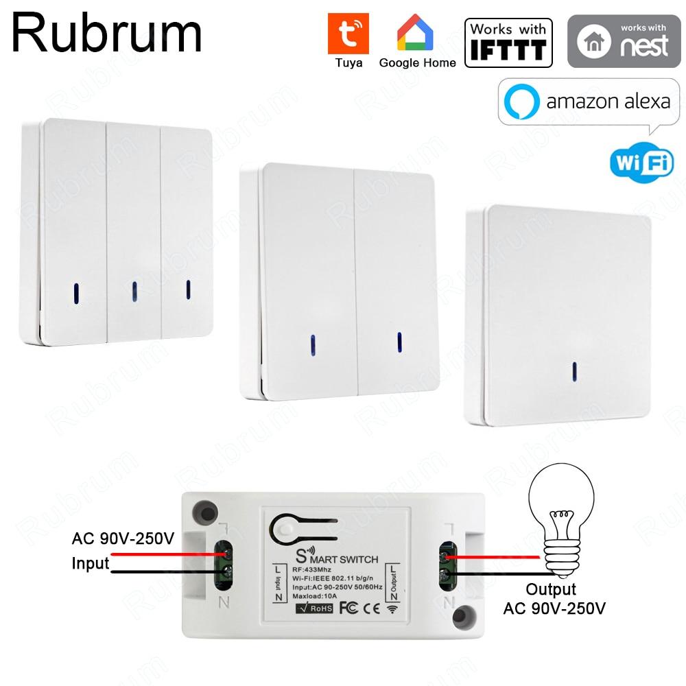 Rubrum RF 433 AC 220V receptor inteligente Wifi en casa de Control remoto inalámbrico interruptor inteligente de vida inteligente/Tuya APP funciona con Alexa Google