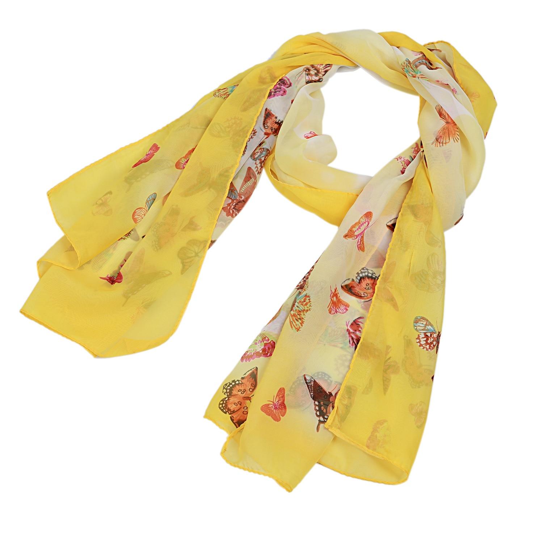 Bufanda larga suave para mujer chal bufanda de gasa 160x50CM (amarillo (mariposa)