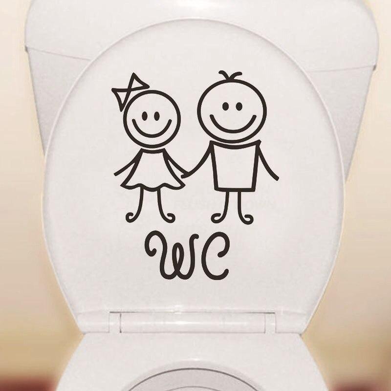 Menina menino wc fácil aplicar porta do banheiro adesivo auto adesivo bonito reutilizável removível toalete adesivos à prova dwaterproof água pvc desenhos animados decoração