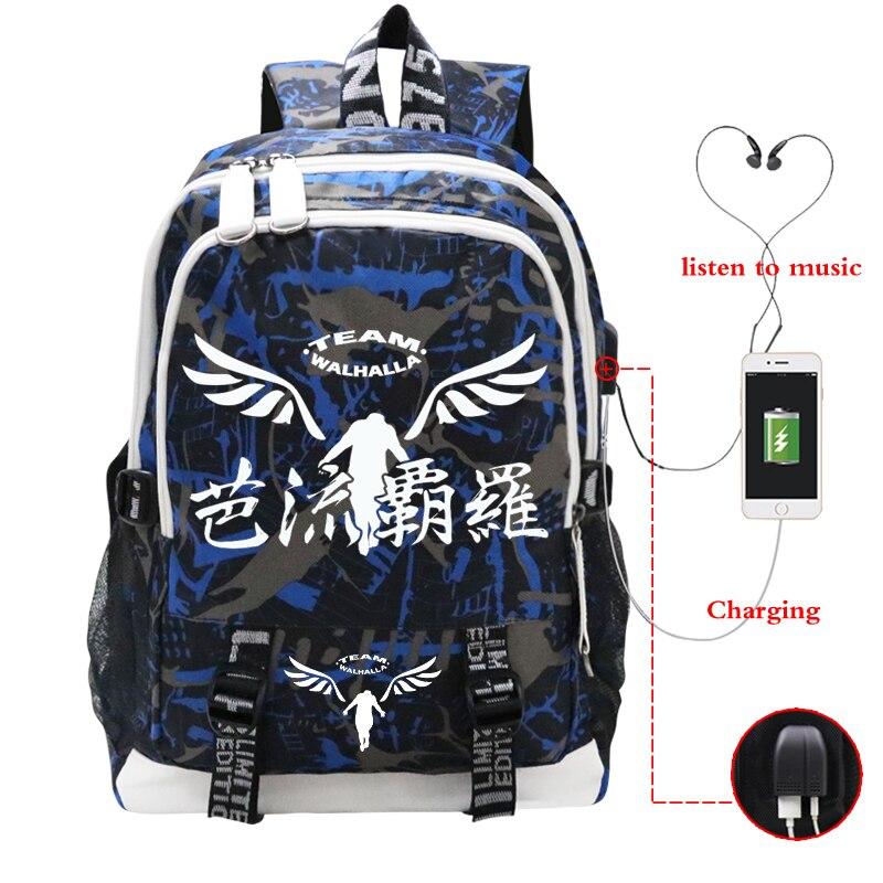 Unisex Tokyo Revengers USB Backpack Students Valhalla Print Bookbag Boys Girls Travel Laptop Bagpack