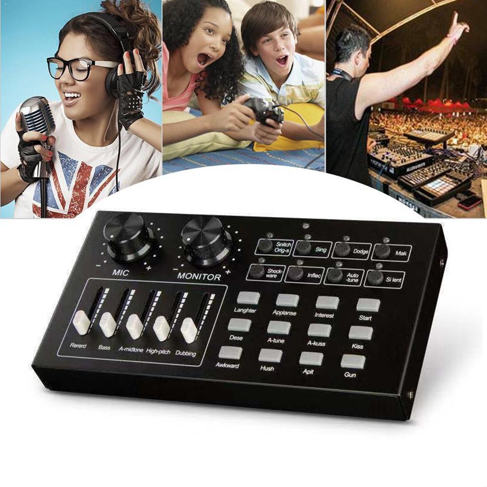 I10 Audio Live KTV dispositivo de tarjeta de sonido, micrófono, auriculares para teléfono mezclador de ordenador B7W1
