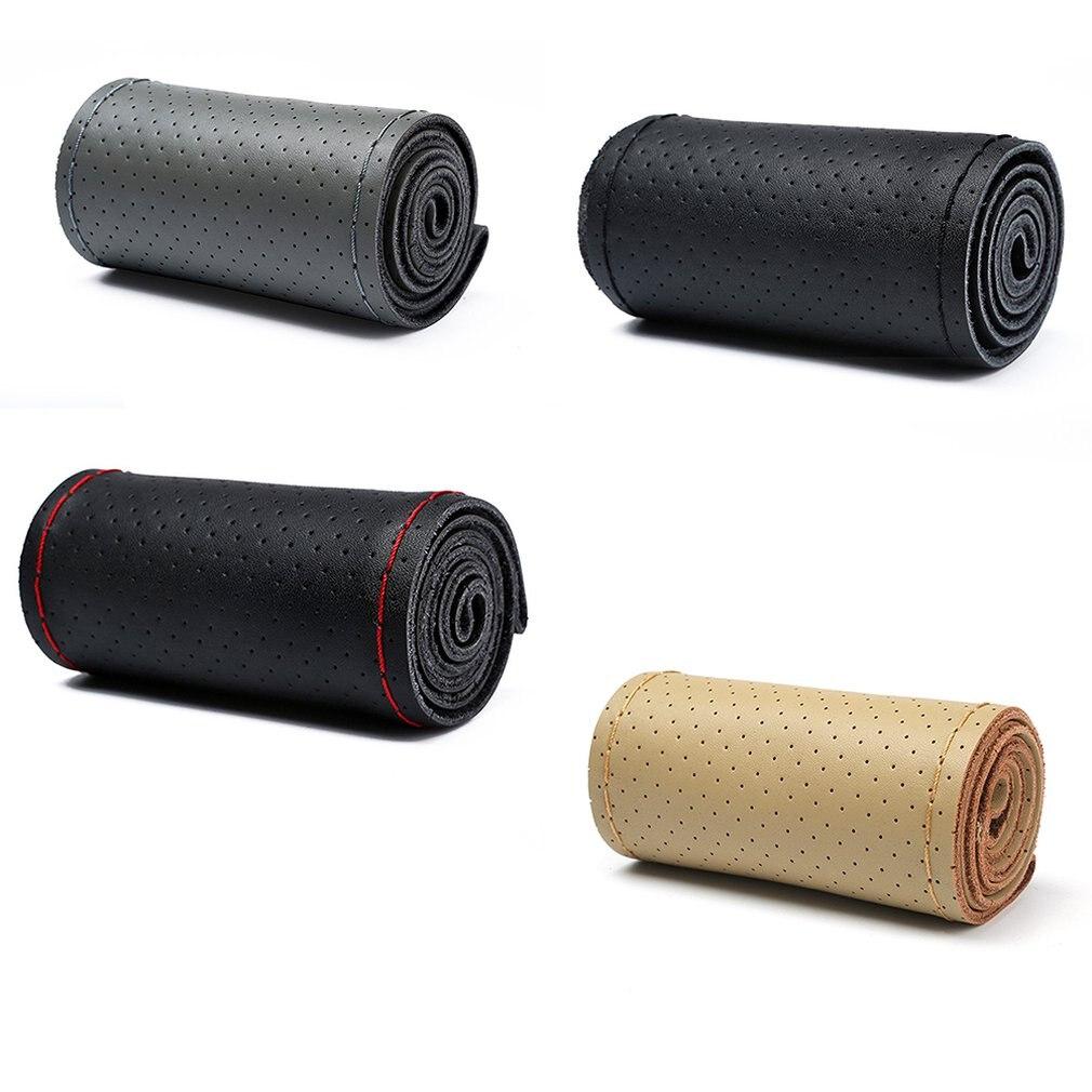 Cubierta de volante cosida a mano con agujero completo para verano, juego de manijas de coche, cubierta protectora de volante inelástica y duradera