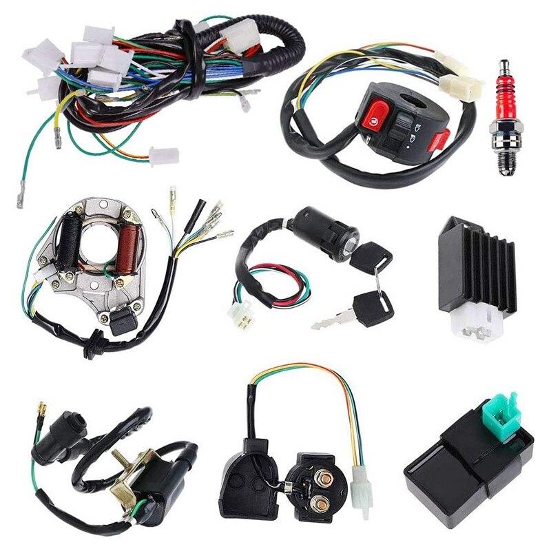 الكهرباء لفافة ثابتة CDI الأسلاك تسخير الملف اللولبي التتابع ل 4 السكتة الدماغية ATV 50Cc 70Cc 110Cc 125Cc حفرة رباعية الترابية دراجة الذهاب كارت