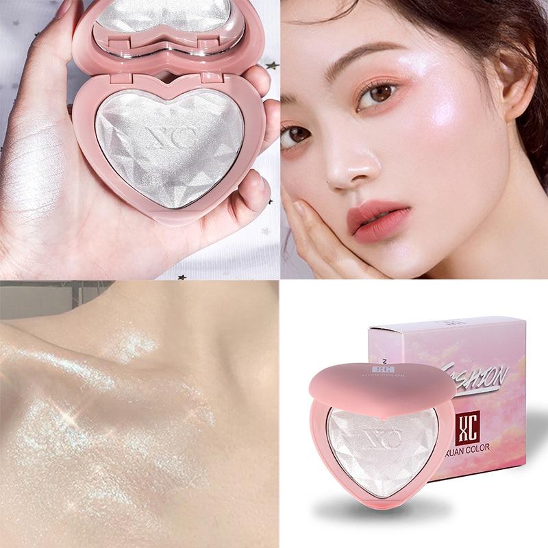 Gezicht Make-Up Hartvormige Diamant Oogschaduw Hoogglans Poeder Cake Fleuren Shimmer Parel Reparatie Markeerstift