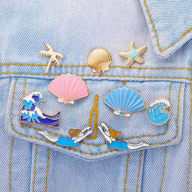 9 estilo oceano série broche coco palmeira onda broche conch estrela do mar concha pino broche natação menina esmalte distintivo jóias