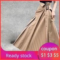 women pleated skirt 2020 korean plain ankle length khaki harajuku plus size asymmetrical casual boho long skirts office ladies