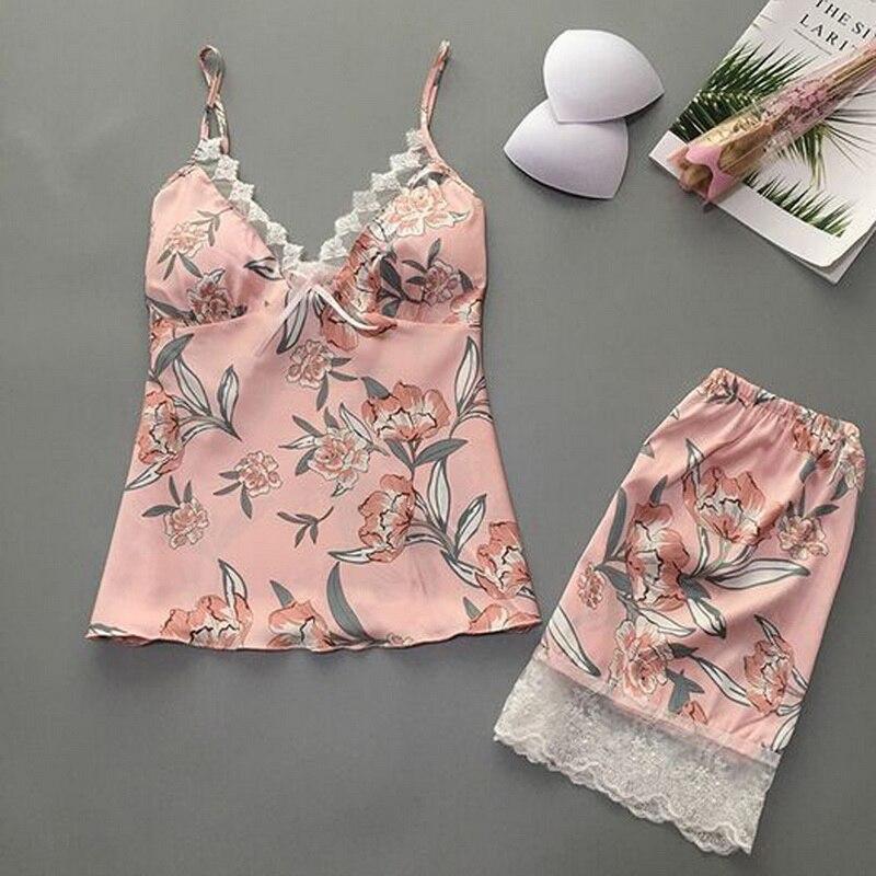 New Sleep Lounge Pajama Sets Sexy Satin Silk Sleepwear Women Pajama Femme Fashion Flower Babydoll Pa