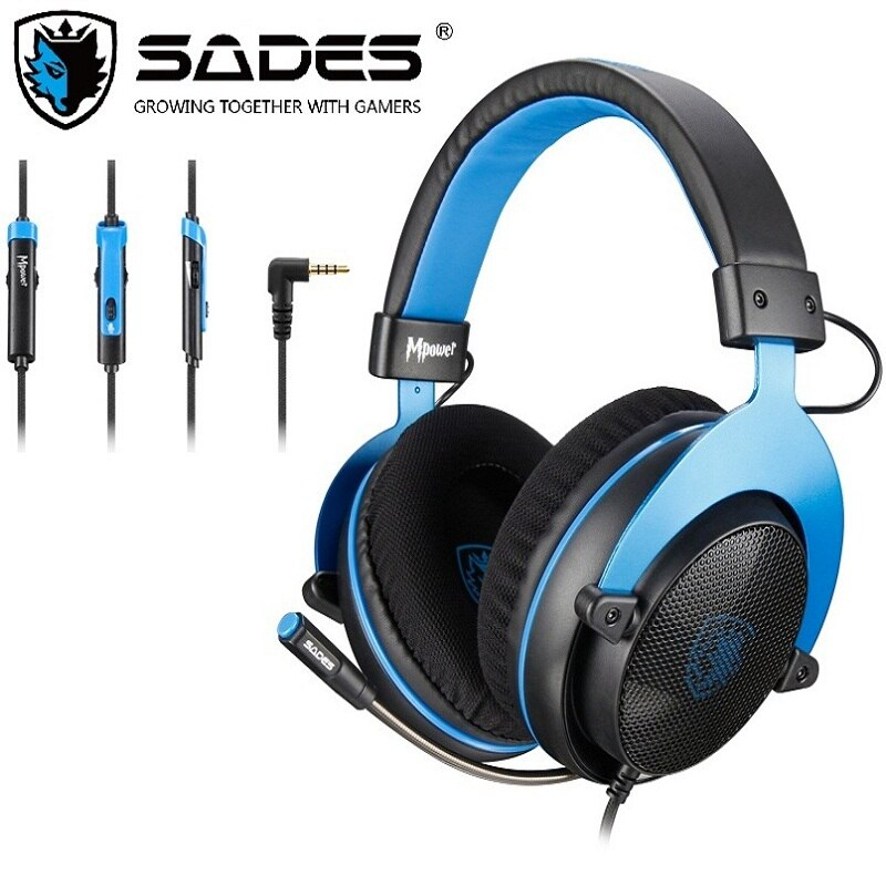 Sades gaming heaset mpower 3.5mm, para pc/laptop/ps4/xbox one (versão 2015)/móvel/vr/nintendo switch