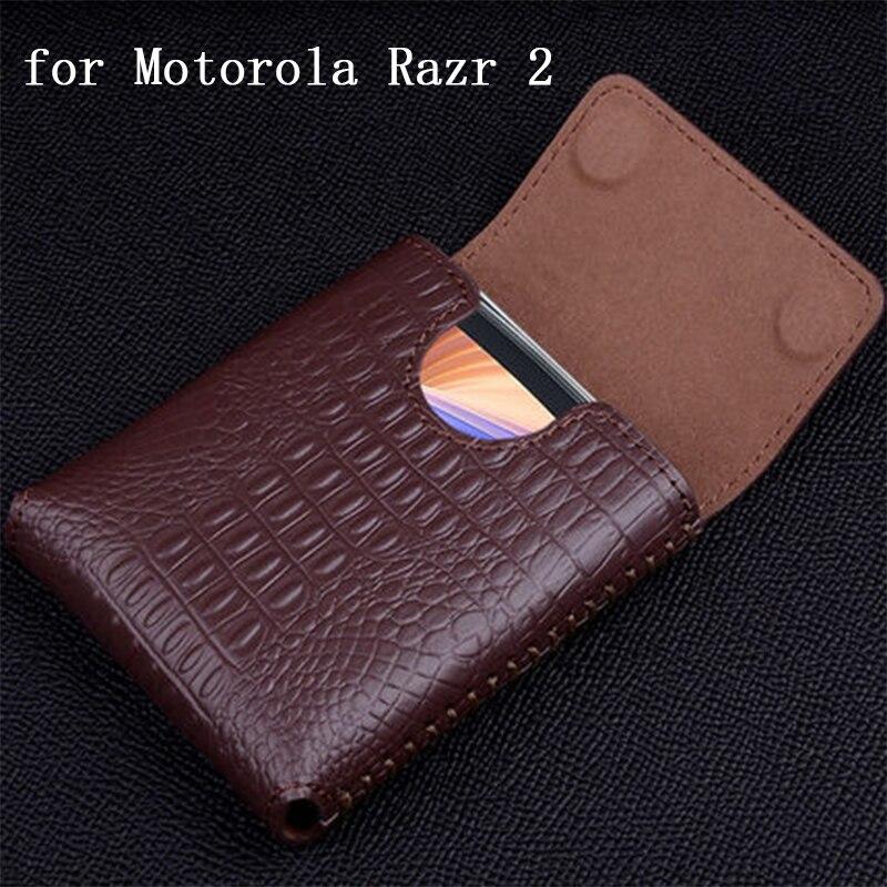 جراب هاتف تمساح لهاتف motorola Razr 2 ، جراب جلد أصلي بغطاء لهاتف Moto Razr 2 ، مغناطيسي ، غطاء هاتف فاخر