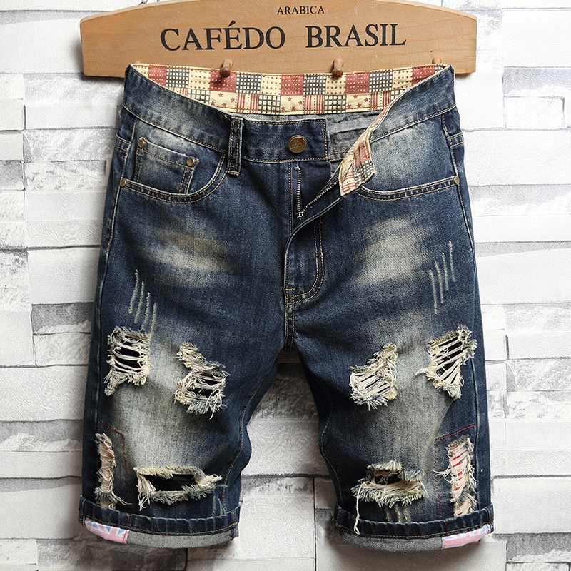 New Summer Men's Five-Point Pants Straight Leg Loose Trend Ripped Jeans Retro Straight Leg Thin Large Size Wild Jeans
